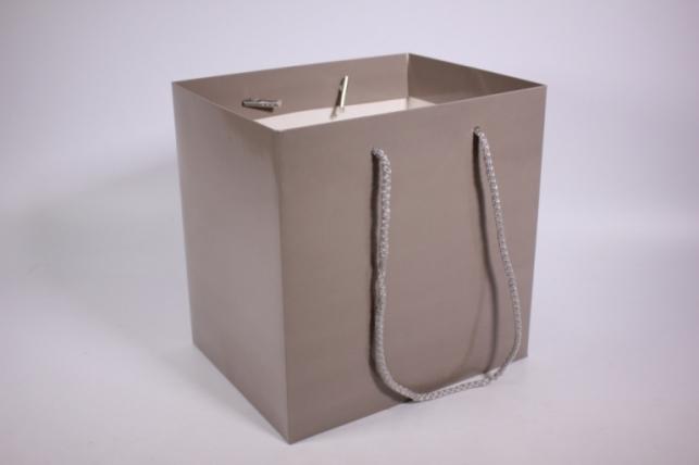 Подарочные пакеты - Сумка Люкс однотонная Серая (23*23*19)   (10 шт/уп) 19F