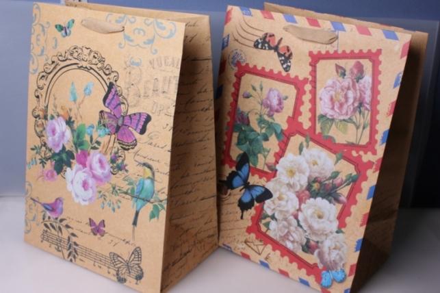 Подарочный пакет Люкс Крафт Цветы (31х44х19) 445
