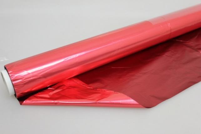 Полисилк металл в рулоне (1м х 50м) Красный/Бордовый