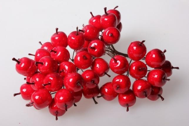 Яблоки красные искусственные 3см (12 пучков по 12 шт) 5588 SM1153