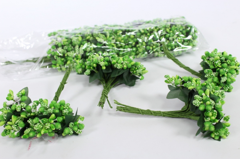 тычинки сахарные зеленые (12 букет. по 12 шт)