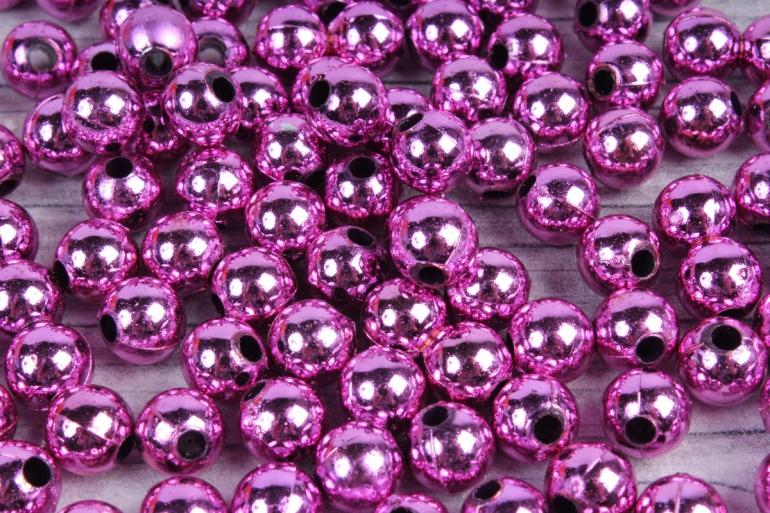 Бусины (А) металл ярко-розовый  в пакете 100гр