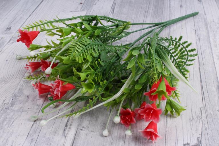 Искусственное растение - Колокольчик с декором красный