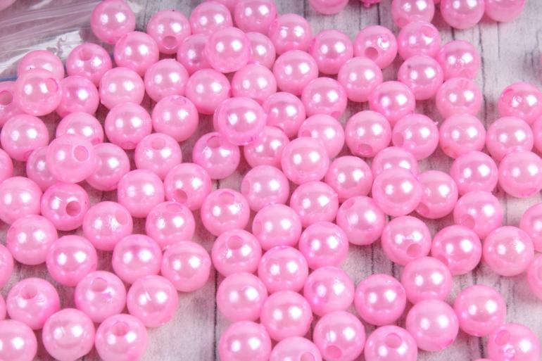Бусины (С) перламутровые розовые (8мм) в пакете 100гр