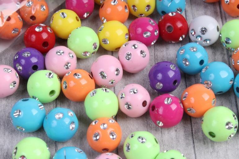Бусины (С) цветные микс со стразами  (10мм) в пакете 100гр