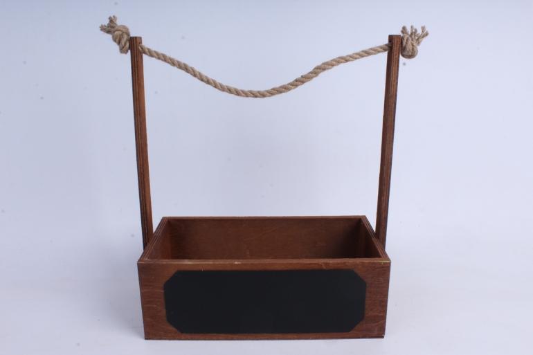 кашпо деревянное орех с джутовой ручкой и грифельной табличкой