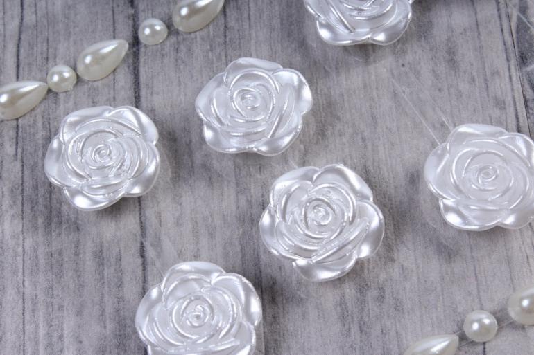 Стразы Розы белые 18мм 12шт  DZ683