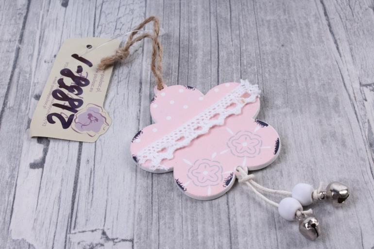 Подвеска из дерева Цветок розовый  6,5*10см    DK469  7231