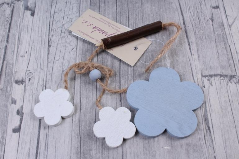 Подвеска из дерева Цветок Ромашка голубая с белым  6*18см ZL16017