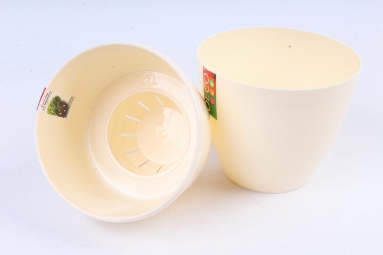 Цветочный (А) горшок Деко Твин (пластик),  1,5л, кремовый  2233