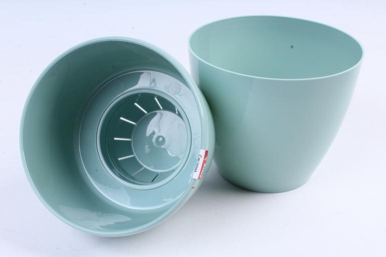 Цветочный (А) горшок Деко Твин (пластик),  1,5л, нефритовый  2257