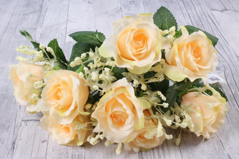 искусственное растение - роза букет персик