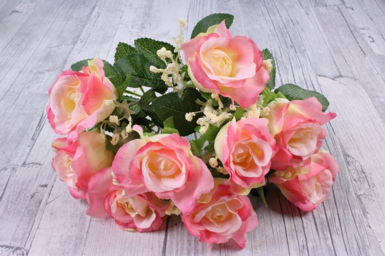 искусственное растение - роза букет розовая