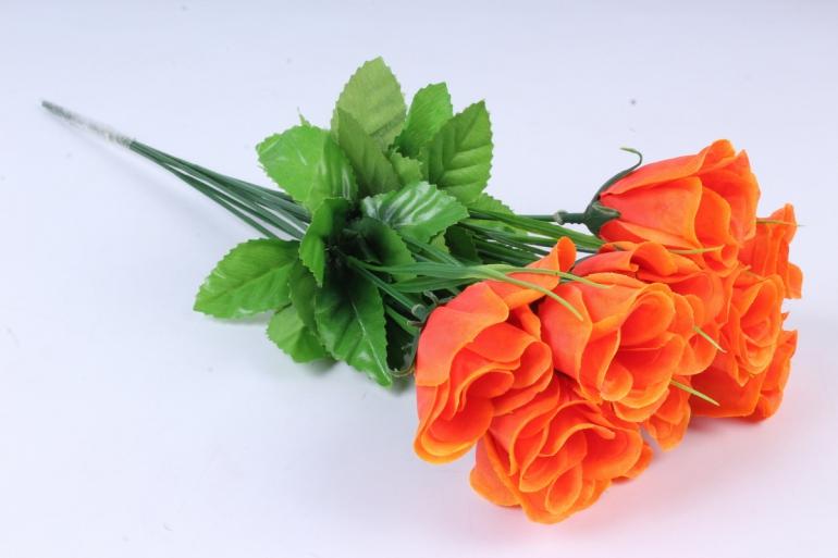 искусственное растение - розы одиночные (10 шт в уп) оранжевые