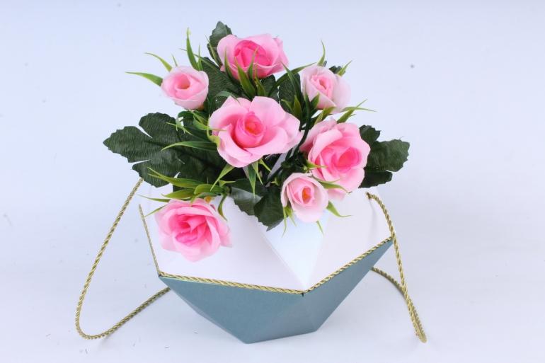 Искусственное растение - Розы с осокой розовые
