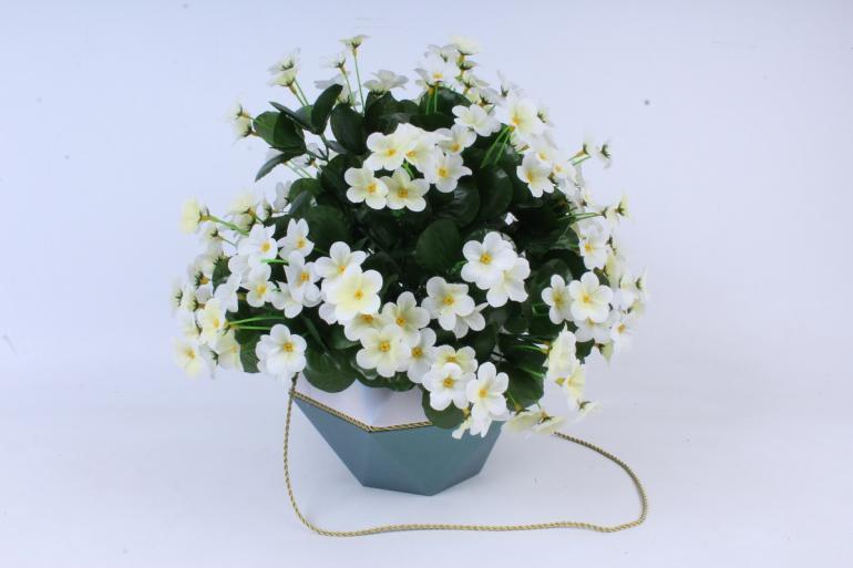 Искусственное растение - Букет фиалок круглый белый