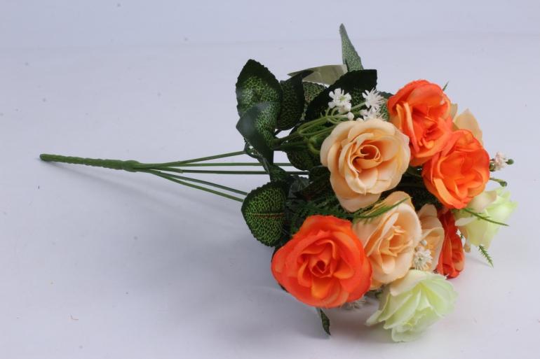 Искусственные растения - Розочка с гипсофилой шампань/оранж 35см