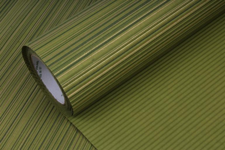 Бумага  рифленая в рулоне Полоски зелёные с золотом  50см*10м 131002 50/10 363142