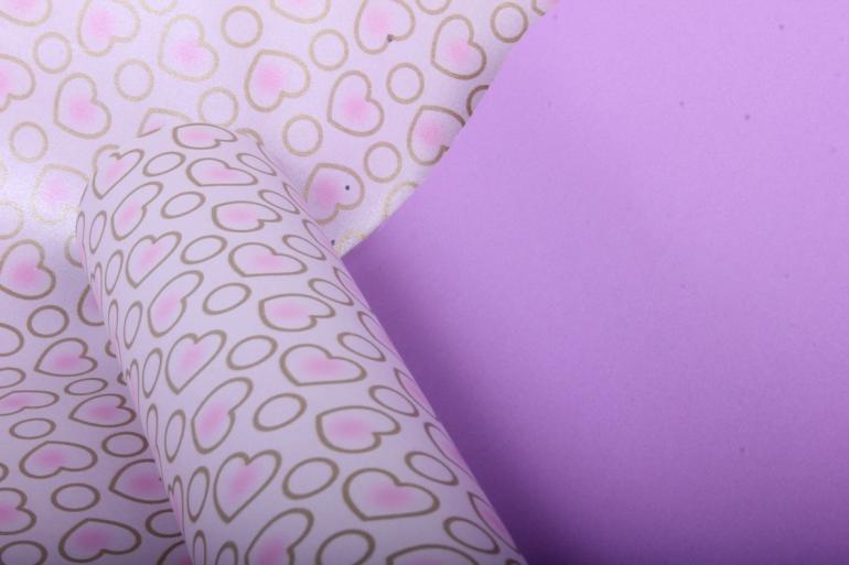"""Бумага на золотой основе """"Сердечки"""" (светло-розовый) 53см*10м GOL-1045"""