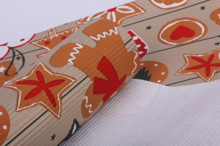Бумага  рифленая в рулоне Новогодние игрушки на золотом  50см*10м 131249 50/10 421835