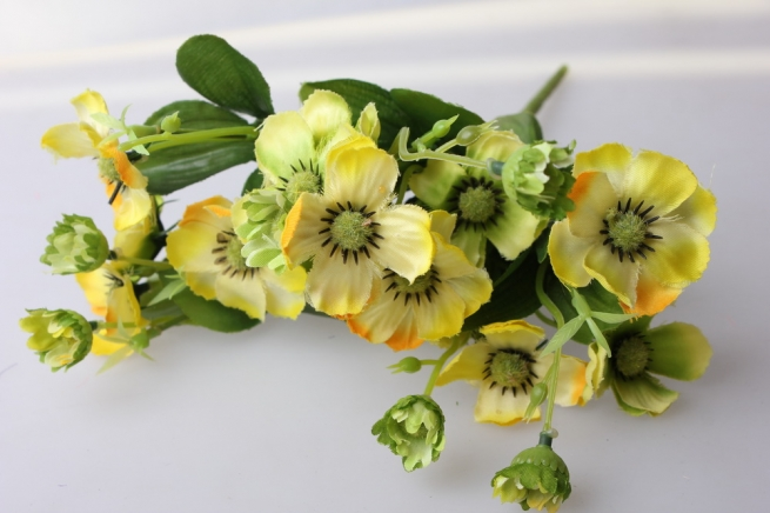 анемоны желто/зеленые букет - цветы искусственные
