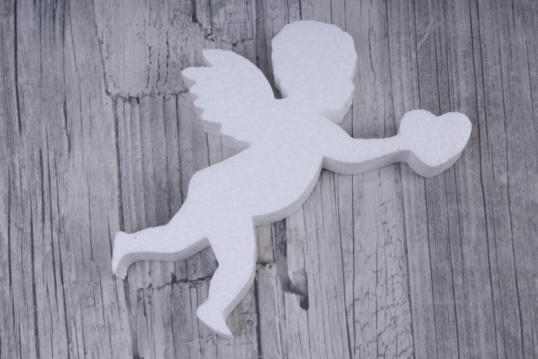 ангел пенопласт с сердцем h14см d2см (1 шт в упаковке), ан-02