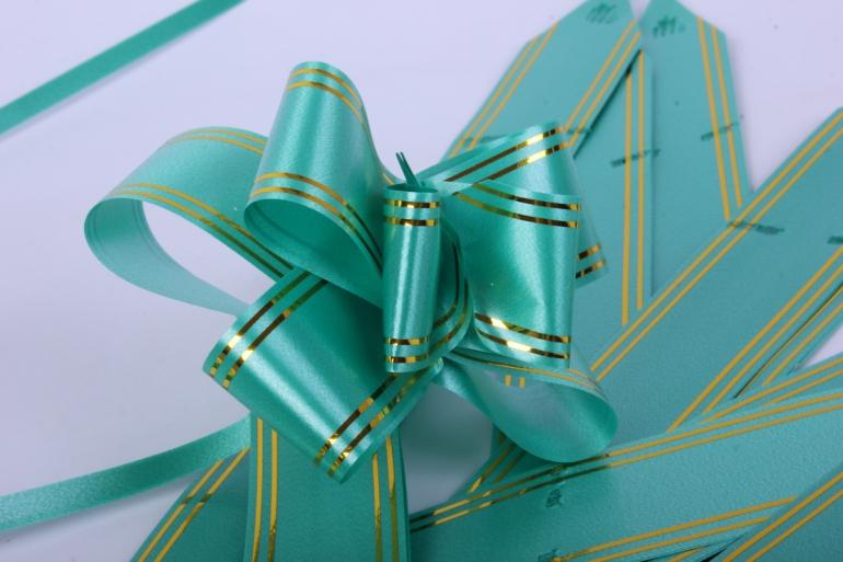 бант-бабочка 32*570мм золот. полоса зеленый (10 шт.)