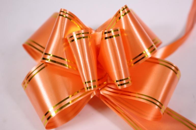 бант-бабочка 50*890мм золотая полоса коралловый (10 шт.)
