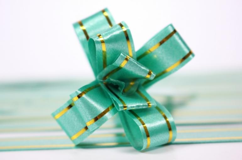 бант из ленты - бант-бабочка 12х250мм (золотая полоса) зеленый (10 шт.)