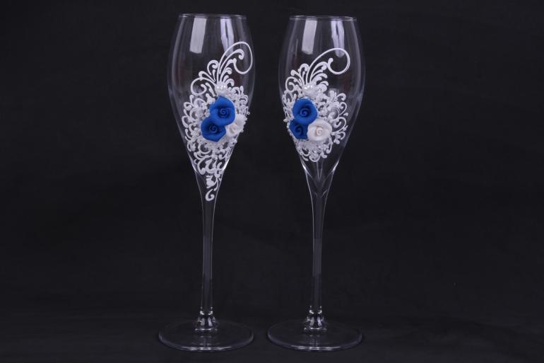 """бокалы свадебные  """"белые с синими розами""""  (2шт в уп)"""