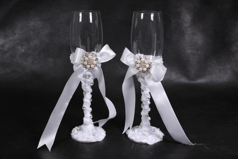 """бокалы свадебные  """"жемчужина"""" белые  (2шт в уп) 24403"""