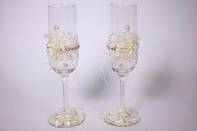 """бокалы свадебные """"с кружевом и стразами"""" - шампань h=22см (2шт в наб) (1)"""