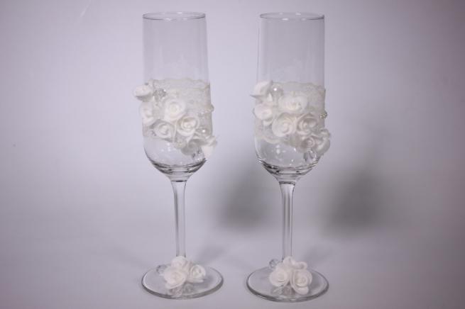 """бокалы свадебные """"с розами и стразами прозрачными"""" - белые (2шт в наб) (1)"""