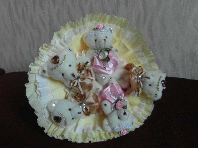 букет из белых мишек DM-07