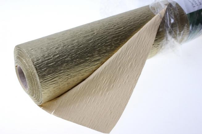 бумага жатая водостойкая для цветов 2х-цветная 50х10м - золотой-бежевый