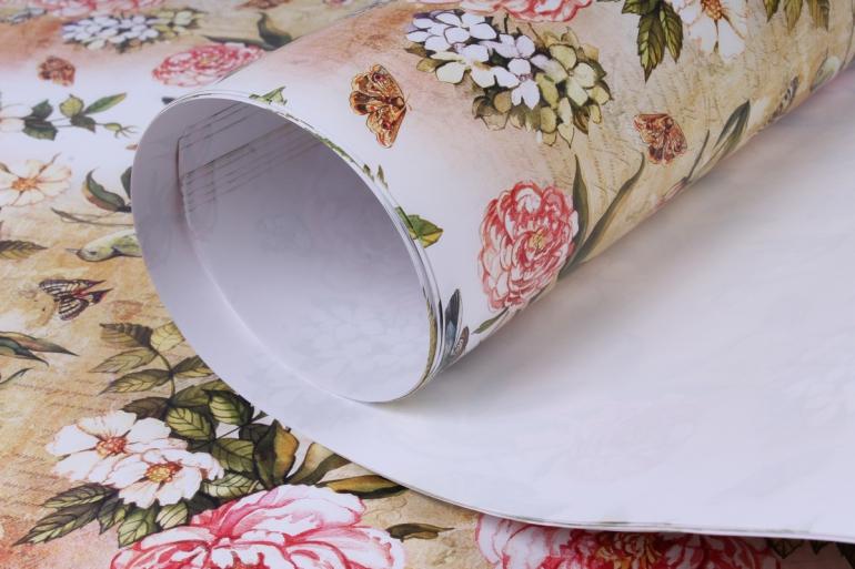 бумага глянец  100/344 винтажный садик  68*98см (10 листов)