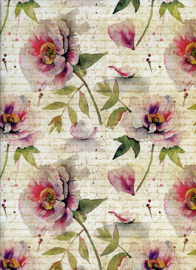 """бумага глянец """"цветочные строки"""" 0,7х1м (10 листов)"""