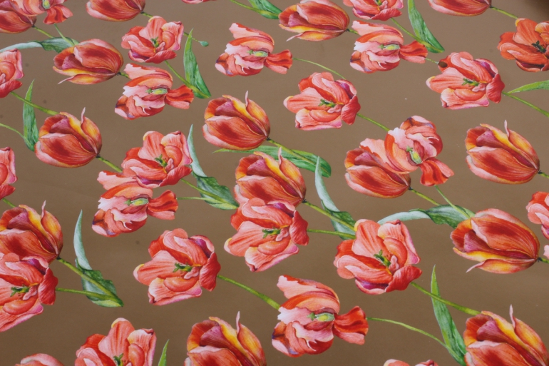 бумага  глянец  тюльпаны на золоте  0,7*1м в лист. (10 лист.) 78г/м2  9384  м