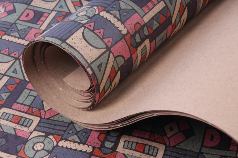 бумага  крафт абстракция 1    0,7*1м в лист. (10 лист.) unlg-k   м