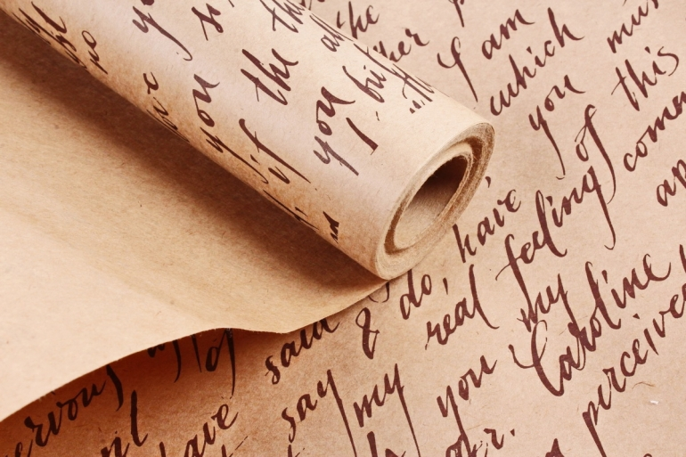Бумага крафт цветочная Caroline коричневый  70см*10м. 60 г/м2  М  К715/2