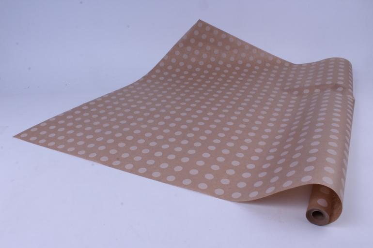 бумага  крафт цветочная горох белый 70см*10м  40г/м2    33072пу   м