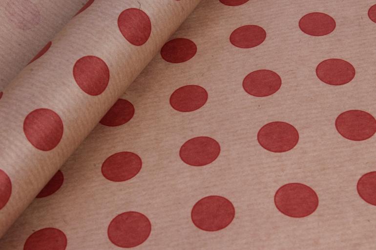 бумага  крафт цветочная горох красный 70см*10м  40г/м2    33073пу   м