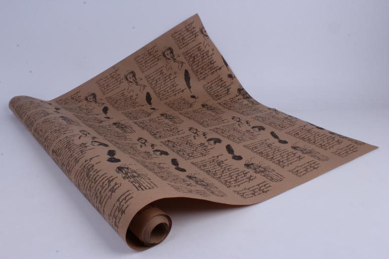 "бумага  крафт ""пушкин"" 70см*10м черная на коричневом фоне уукр6 м"