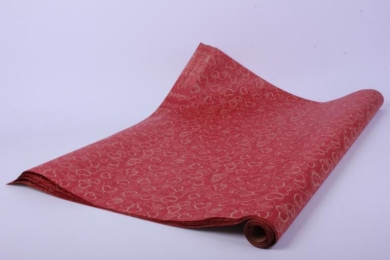 бумага  крафт сердечки на красном  0,7*1м в лист. (10 лист.)  78г/м2  м