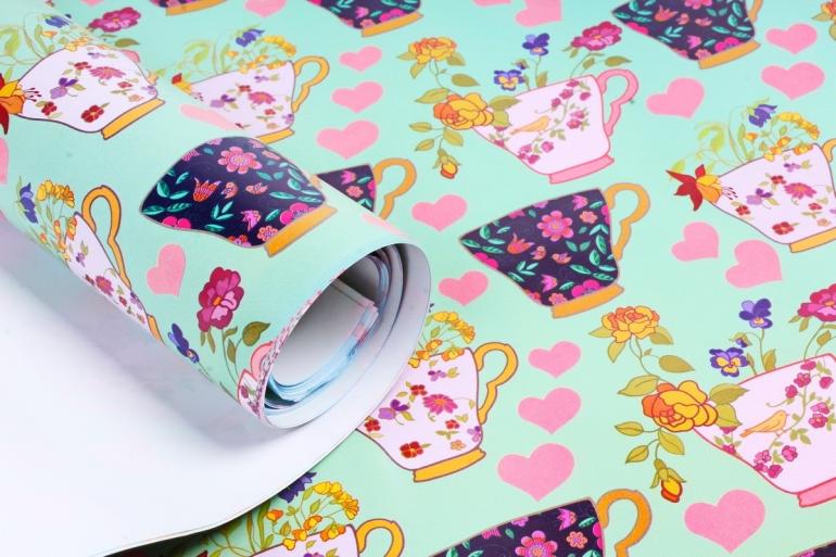"Бумага 1м*70см Дизайнерская бумага ""Чайные чашечки""  78г/м2  10шт/уп  (М)  UNTP"
