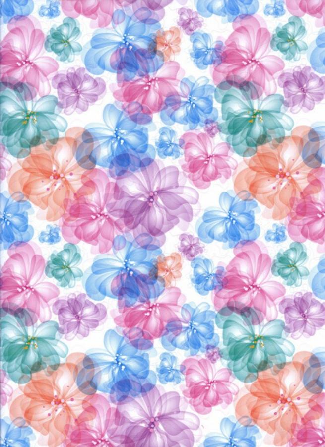 """бумага подарочная глянец """"цветы акварель"""" 0,7х1м (10 листов в рулоне)"""