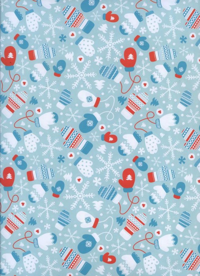 """бумага подарочная глянец  новый год """"варежки"""" 0,7х1м (10 лист.)"""