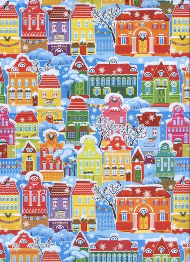 """бумага подарочная глянец """"новый год зима в городе"""" 0,7х1м (10 листов)"""