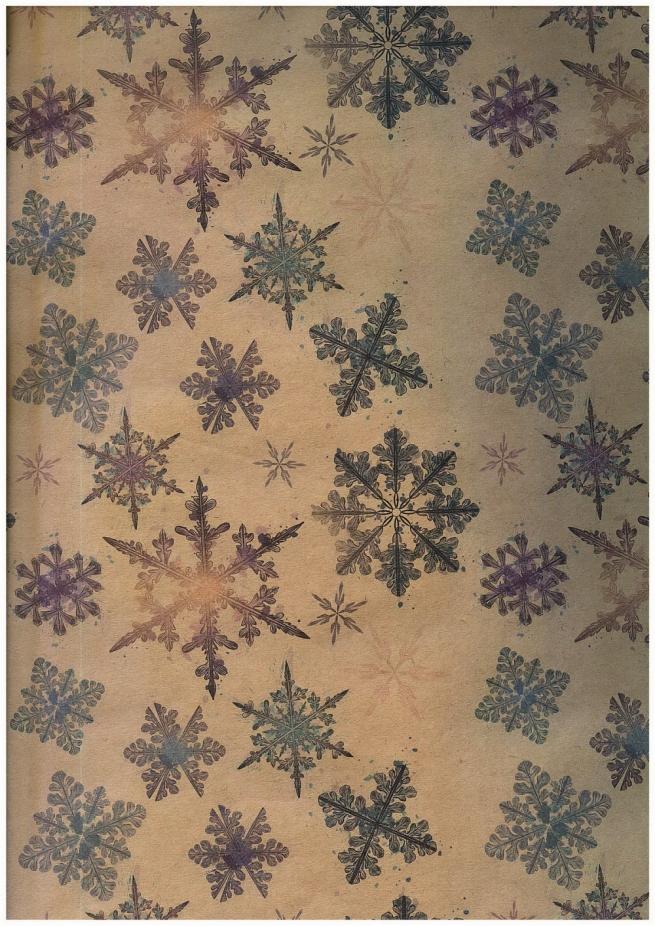"""бумага подарочная крафт 203/108 """"новый год кристальные снежинки"""" 0,7х1м в листе (10 листов)"""
