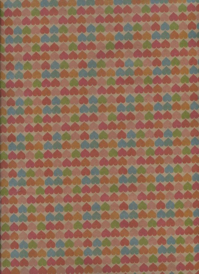 """бумага подарочная крафт """"цветные сердца"""" 0,7х1м в лист. (10 лист.)"""